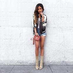 Jessi Malay - F21 Floral Bomber Jacket, Grlfrnd Denim Slouchy Shorts, Yeezy Season 2 Low Knit Boots, Saint Laurent Blogger Bag - 6th St | #ootd