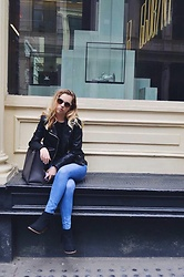 Amelia Burns - H&M Jeans, Primark Booties, Lord & Taylors Leather Jacket, Rebecca Minkoff Bag - City Chillin'