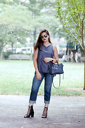 Raleene Cabrera - Balenciaga Tote, Ann Demeulemeester Lace Up Booties, Fendi Eyeshine Sunnies, Abercrombie & Fitch Boyfriend Jeans, Lululemon Top - BleuBlue