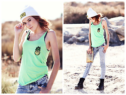 Rose Pendleton - I'm A Jerk Industries Pineapple Sequin Tank Top, Gold Sequin Clutch, I'm A Jerk Industries Beanie, Rosie Says Hello Ear Cuff, Arizona Jeans - A Sweet & Tasty Summer