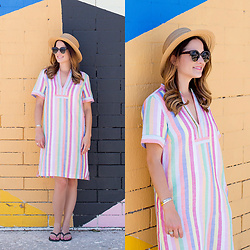 Jenn Lake - J. Crew Rainbow Stripe Dress, Nordstrom Straw Boater Hat, Havaianas Black Flip Flops, Urban Outfitters Round Tortoise Sunglasses - Rainbow Stripe Dress