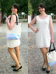 Caliope - Esprit White Ajour Dress, Deichmann Wedge Pumps, Eastpak Holographic Bag - The Holo Bag