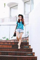 Katrina Enrera - Giordano Turquoise Shirt, Cotton On Black Fedora - Bank on Basics