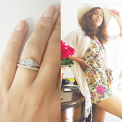 Shanie Zak Silly  Shiny Diamonds - Silly Shiny Diamonds Rome Crown Unique Diamond Engagement Ring, H&M Floral Short Romper, White Wide Hat, White Scarve - Floral White Mikonos
