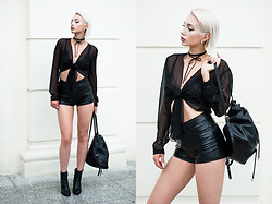 MONIKA S - Romwe Leather Choker Necklace, Lace Bra, Transparent Blouse, Leather Backpack, Leather High Waist Shorts, Leather Ankle Boots - SOLAR DETROIT