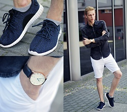 Adrian Kamiński - Denley Shorts, Daniel Wellington Watch, Denley Shoes - WHITE SHORTS