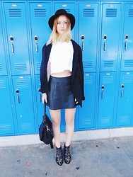 Katie Van Daalen Wetters - All Saints Leather Skirt, Chloé Leather Boots, Givenchy Pandora Bag, Topshop Cropped Tee, Alexander Wang Blazer, Topshop Hat - Back To School