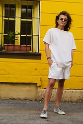 Enea Nastri - Thrifted Vinatage Sunglasses, Giorgio Armani White T, Nike White Shorts, Superga Grey Sneakers - YELLOW