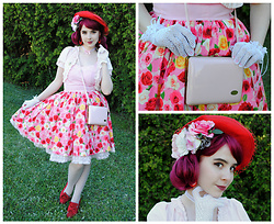 Lacy Dottie - 60s Bag, Vintage Gloves, Angelic Pretty Dressy Rose Jsk, Dreamv Cardigan - Birthday Rose