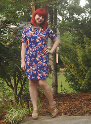 Jamie Rose - Boohoo Blue Floral Shift Dress, X Appeal Nude Peeptoe Heels, Forever 21 Layered Bronze Necklace - Work Style