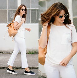 Tonya S. - Zady Live In Simplicity Tee, Frame White Denim, Opening Ceremony Slip Ons - Live in Simplicity