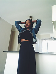 Tina Booboo Tshangela - Thrifted 70s Vintage Maxi Skirt, Zara Crop Top, Cotton On Denim Bomber - Weekend Chill