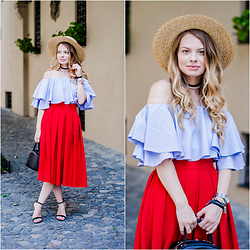 Julie P - H&M Hat, Shein Off Shoulder Blouse, Zara Sandals - French vibes