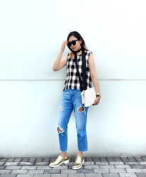 Carrie Tong - Zara Top, Pull & Bear Ripped Denim, Zara Clutch, Zara Metallic Brogues, The Peach Box Gold Bangles, Versace Watch - Gingham