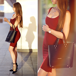 Ariadna M. - Red Midi Dress, Black Suede Heels - Burgundy dress