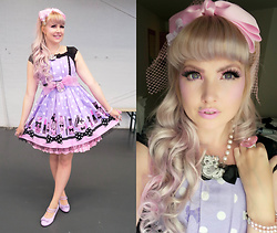 Roxie Sweetheart - Angelic Pretty Fantastic Dolly Jsk, Asos Vintage Bow Headpiece, Roxie Sweetheart Fancy Feline Necklace, Collectif Pink Pearl Bracelet With Diamante Bow, Roxie Sweetheart Heart Jewel Ring - Fantastic Dolly