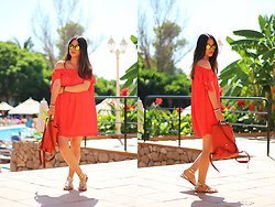 Sandy L. - Mango Off Shoulder Dress, Asos Sunnies, Longchamp Backpack - Intoxicated