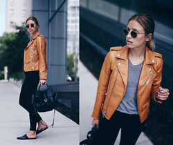 Jillian Lansky - Coach Leather Jacket, Proenza Schouler Ps 1 Bag, Citizens Of Humanity Black Skinny Jeans - Transitioning into fall