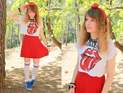 Laura Dambremont - Primark Socks, Uniqlo Skirt, Primark Crop Top - Red tongue