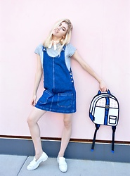 Dani Mikaela McGowan - Topshop Denim Dress, Gap Gray Tee Shirt, Jumpfrompaper Backpack, Steve Madden White Loafers - Major Cutie