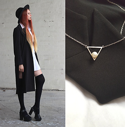 Liza LaBoheme - Black Side Slit Coat, Sheinside Shirt Dress, Triangle Necklace + Earrings - The Godfather