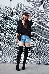 Nomadic Heels - Q Crew Bomber, Franck Muller Watch, H&M Sunglasses, Cape Robbin Boots, Vintage Shorts - Concrete Jungle