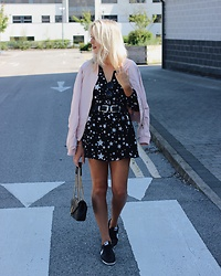 Charlotte Buttrick Lewis - Boohoo Star Print Dress, Little Mistress Pink Bomber Jacket, Nike Cortez - Seeing Stars