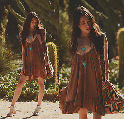 "Jennifer Wang - Pimelia Laser Cut ""Nalani"" Necklace, Pimelia Laser Cut ""Leda"" Necklace, Wanderkarma Handmade Wayuu Mochila Bag, Stormie Dreams Tan Swing Dress - LOST DESERT"