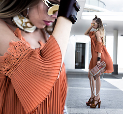 Dora D. - Tangerine Cold Shoulder Pleated Dress, Amber Round Sunglasses, Silk Vintage Print Headscarf - Tangerine Tequila Sunrise