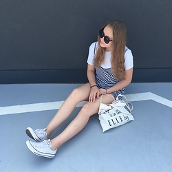 Kasiczuuu - Bershka Striped Overalls, Ralph Lauren White T Shirt, Converse White - Sucker for pain