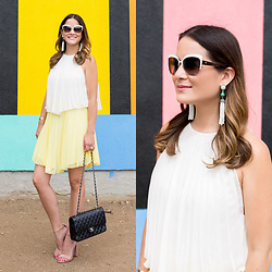 Jenn Lake - Asos White Yellow Tiered Pleated Mini Dress, Baublebar White Tassel Earrings, Chanel Quilted Flap Bag, Steve Madden Nude Patent Carrson Sandals, Kate Spade White Raelyn Sunglasses - Tiered Pleated Mini Dress