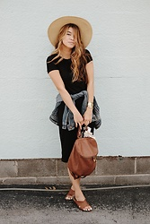 Chloe Hall - Hobo Backpack, Gap Black Dress, Madewell Jean Jacket, True Religion Sun Hat, Branded Brass Cuffs, Madewell Bandana, Esprit Sandals - The Black Dress