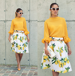 Ruxandra Ioana - Zaful Blouse, Zaful Skirt, Zaful Sunglasses - Lemon tree