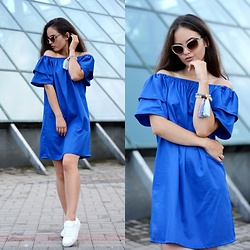 Sofija Lukjanska - Galian Studio Dress, Mango Sneakers, Galian Studio Accessories, Mohito Sunglasses - BLUE GALIAN DRESS