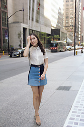Carolina Pinglo - H&M Multi Denim Skirt, Forever 21 Cream Chiffon Blouse, Hudson Bay Strappy Heels, H&M Light Blue Backpack - Denim Street style