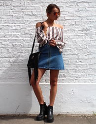 Dominique Malinowska - Asos Jean Skirt, New Look Fringe Bag, Zara Off Shoulder Top - SPANISH VIBES