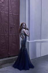 Catherine Black - Midnight Blue Gown, Jewelry By Adrianet Swarovski Earings - Diva