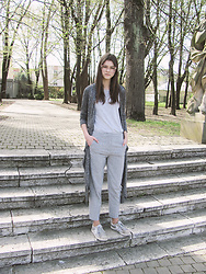 Diana - New Yorker Long Cardigan - GREY ON GREY