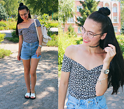 Maria Perchekliy - H&M Top, Topshop Cutoffs, Mango Backpack, Disney Watch - 90s is calling...