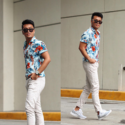 Michael Macalos - Zara Floral Shirt, Zara Pants, Adidas White Zx Flux - Morning Stroll in Florals