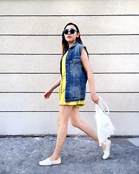Carrie Tong - Zara Yellow Romper, Zara Oversized Denim Vest, Toms Espadrilles - Summer Denim