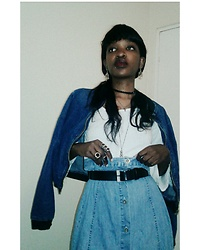 Tina Booboo Tshangela - Cotton On Denim Bomber, Thrifted Denim Maxi Skirt - Modern Red Riding Hood...