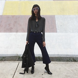 Vu Thien - Thrift Store Top, Thuc Pants, Jeffrey Campbell Shoes, Unif Leather Jacket - #9 DAILY