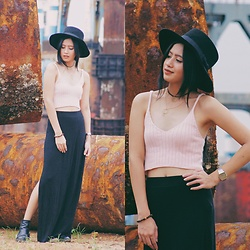 Karen Alexis Malaga Tan - Zaful Crop Top, Zaful Fedora Hat - ZAFUL