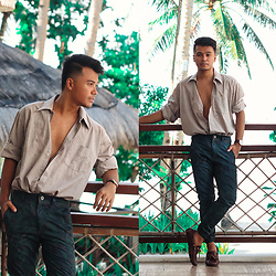 Michael Macalos - Zara Brown Loose Top, Penshoppe Floral Jeans, Sebago Brown Loafers - Lounging in the Tropics