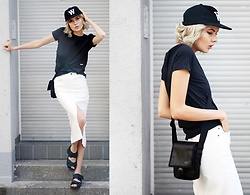 Ebba Zingmark - Wood Cap, The North Faces Bag, Shellys London Sandals, Wood Top, Top Shop Skirt - WOOD WOOD