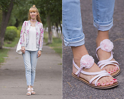 Julia F. - Wholesalebuying Bomber, Bonprix Top, Pull & Bear Bag, Mango Jeans, United Colors Of Benetton Sandals - Transparent bomber