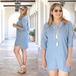 Paulina Mo - Chicwish Denim Embroidered Dress, Gold Aviator Sunglasses - Little Denim Dress