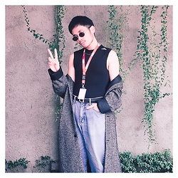 Valeri Novalianto - Gianni Versace Shades, Adidas Bodycon Top, H&M Coat, Guess Jeans - #worklife
