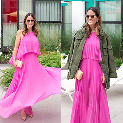 Jenn Lake - Bcbg Pink Pleated Maxi Dress, J. Crew Field Mechanic Jacket, Bcbg Pink Pleated Maxi Dress, Kayu Jen Straw Clutch, Manolo Blahnik Nude Patent Bb Pumps, Quay Steelcat Sunglasses, Kendra Scott Rogan Starburst Earrings - Pink Plated Maxi Dress and Field Jacket